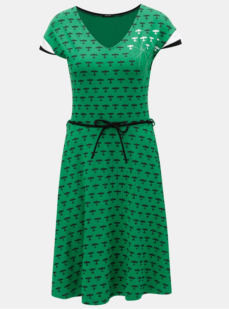 Rochie verde cu print si cordon detasabil Mayda Red Baron