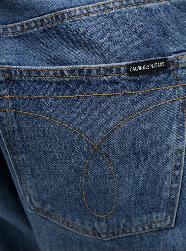 Modré pánské džíny s koženou nášivkou Calvin Klein Jeans
