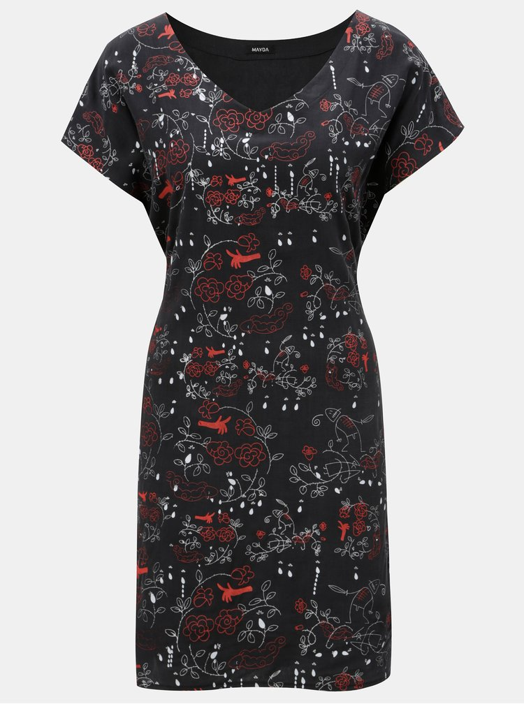 Černé hedvábné šaty s potiskem Mayda Růženka