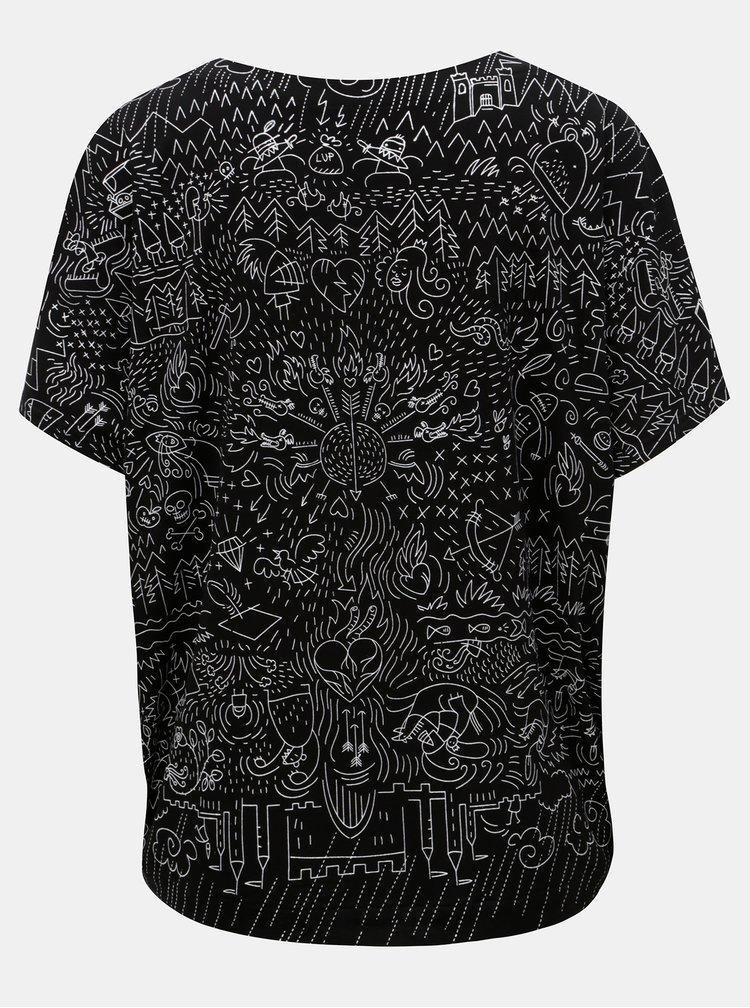 Černé volné tričko s potiskem Mayda Pohádka