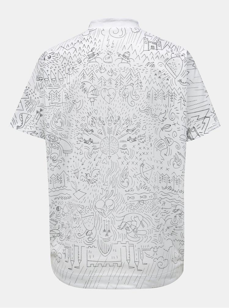 Biele voľné tričko s golierom a potlačou Mayda Pohádka