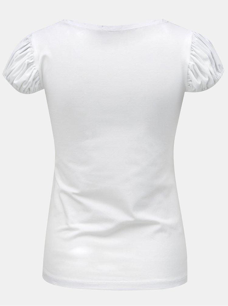 Tricou alb cu maneci cu incretituri Mayda