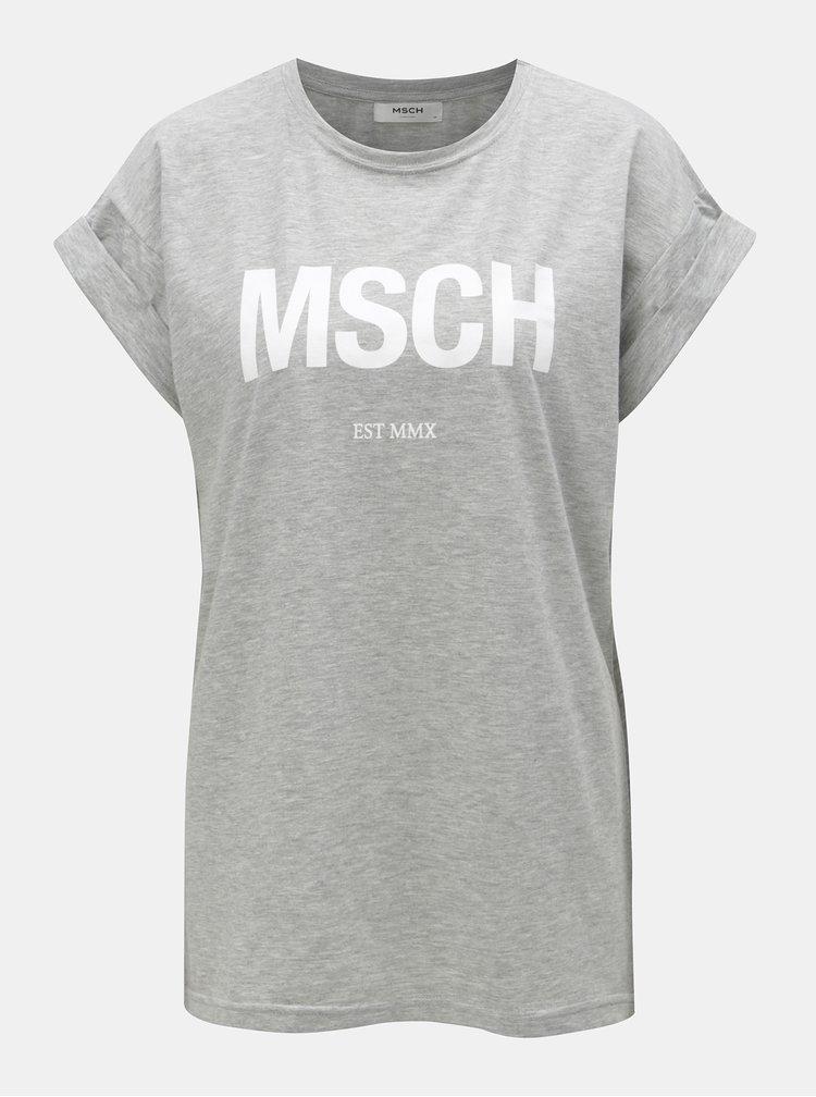 Šedé volné žíhané tričko s potiskem Moss Copenhagen Alva
