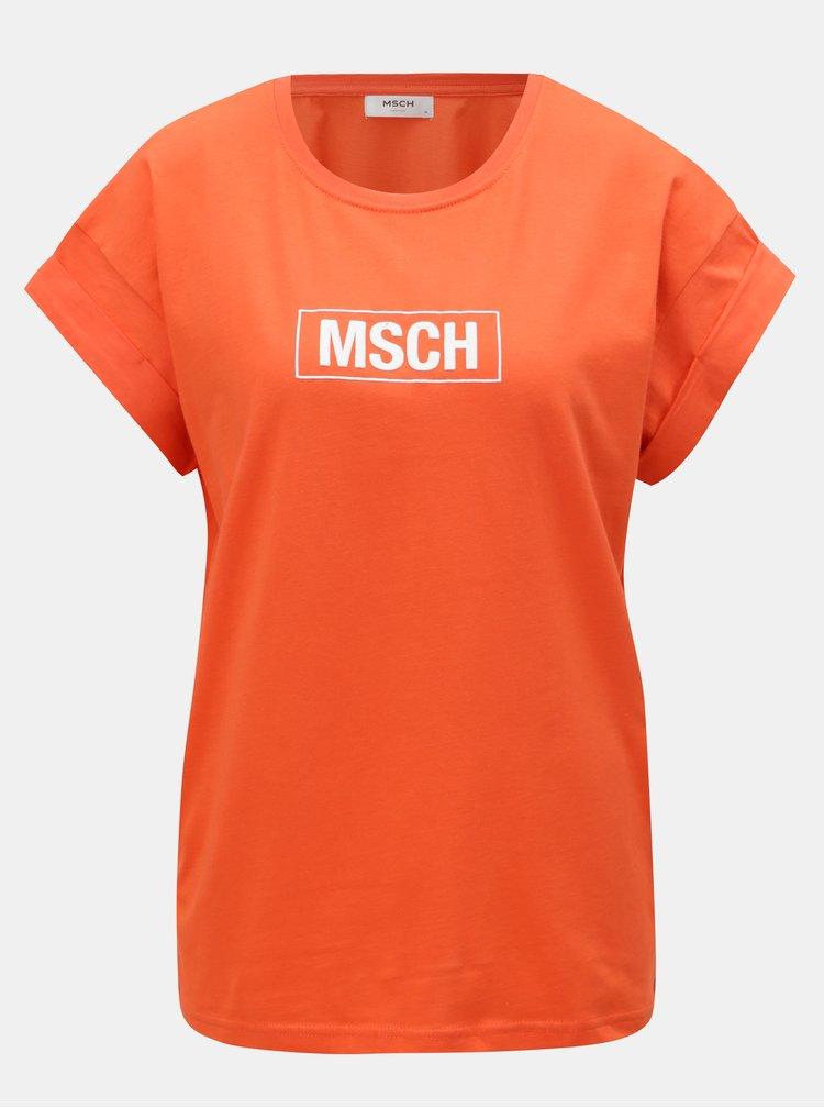 Oranžové voľné tričko s potlačou Moss Copenhagen