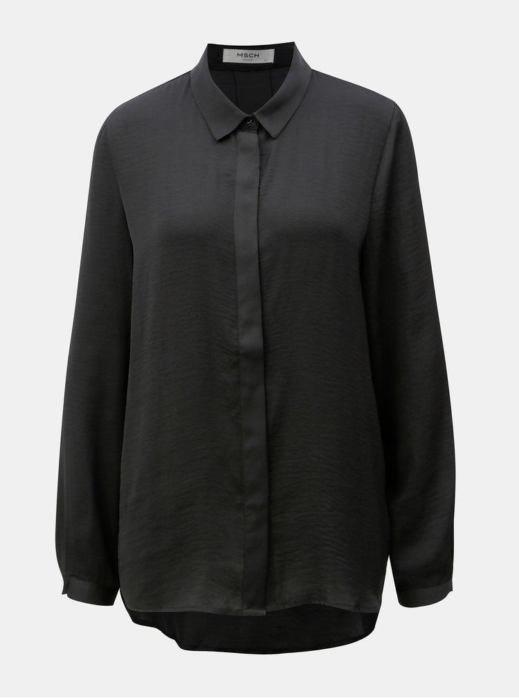 Černá volná košile se skrytou légou Moss Copenhagen Blair