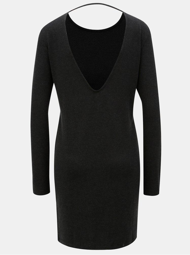Tmavě šedé šaty s hlubokým výstřihem na zádech Moss Copenhagen Filla