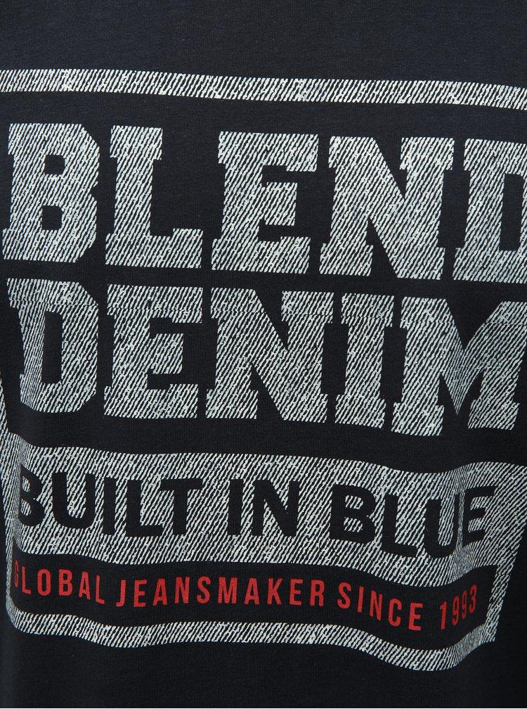 Tmavě modré regular tričko s krátkým rukávem a potiskem Blend