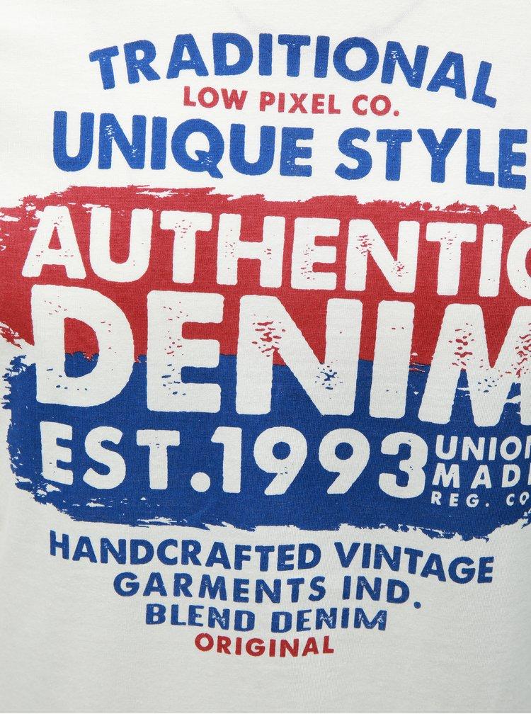 Modro-bílé regular tričko s potiskem Blend