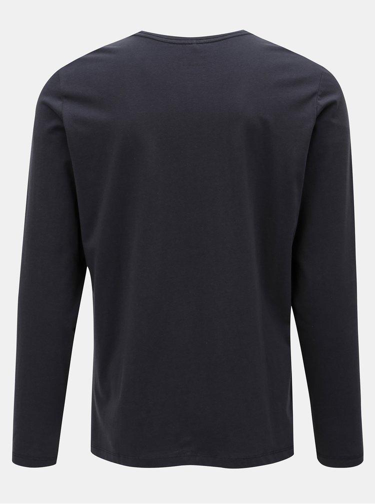Tmavě modré regualr tričko s dlouhým rukávem Blend