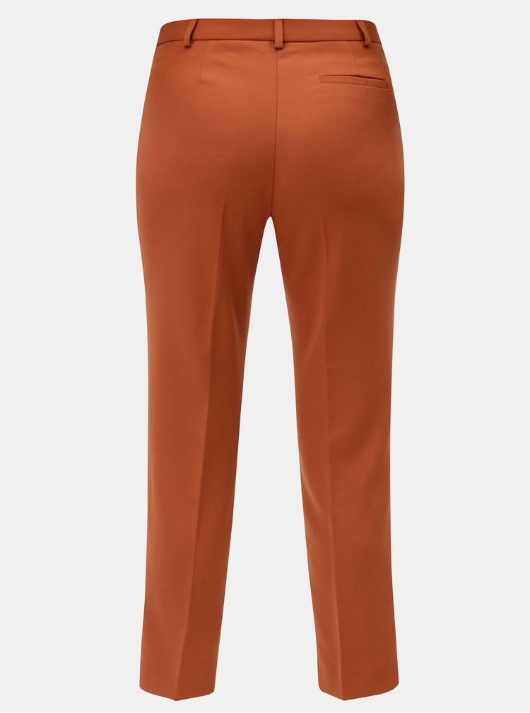 Pantaloni oranj crop plisati Miss Selfridge