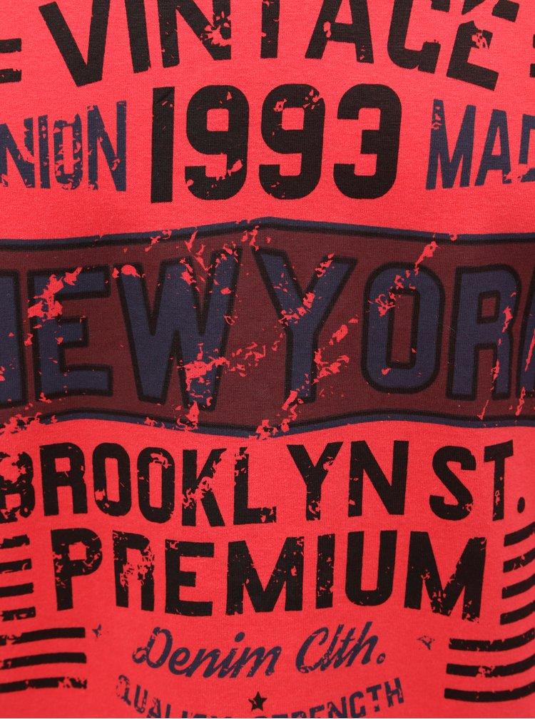 Červené regualr tričko s dlouhým rukávem Blend