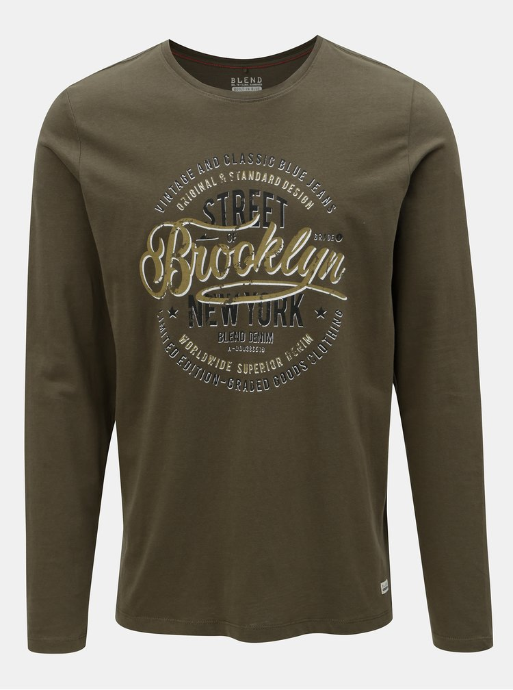 Khaki regular tričko s dlouhým rukávem Blend