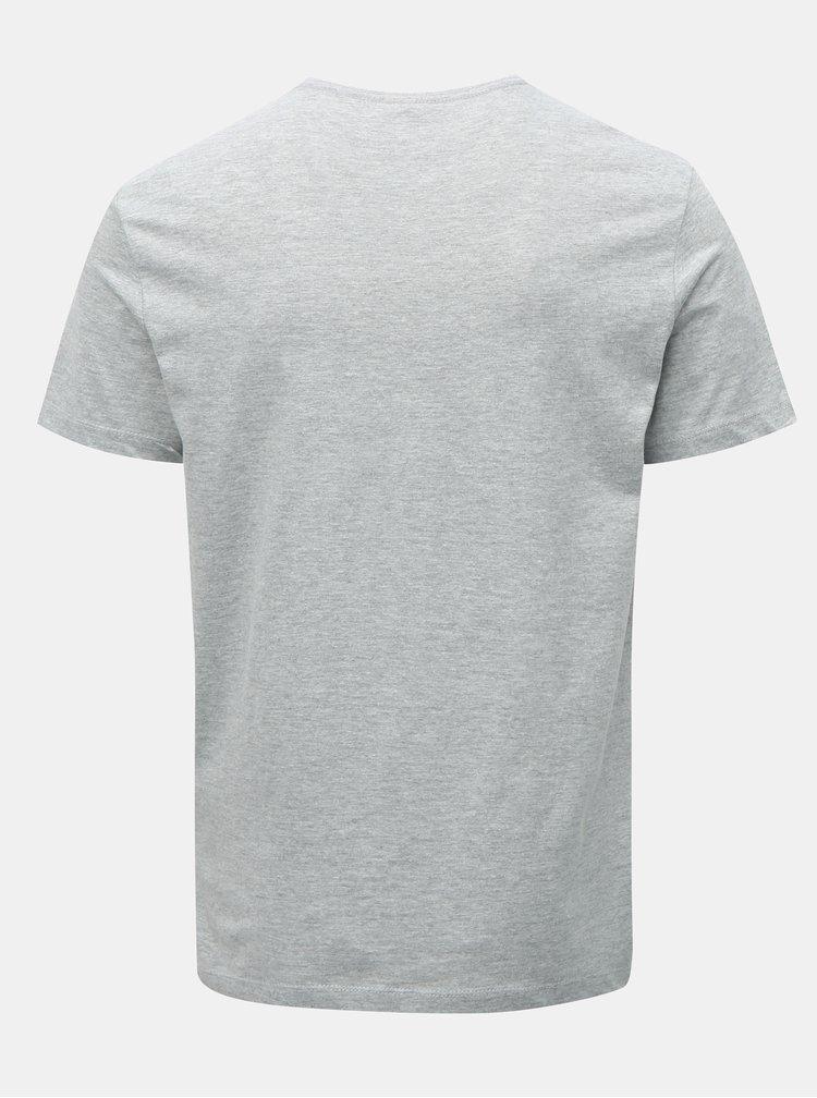 Šedé žíhané tričko s potiskem Blend