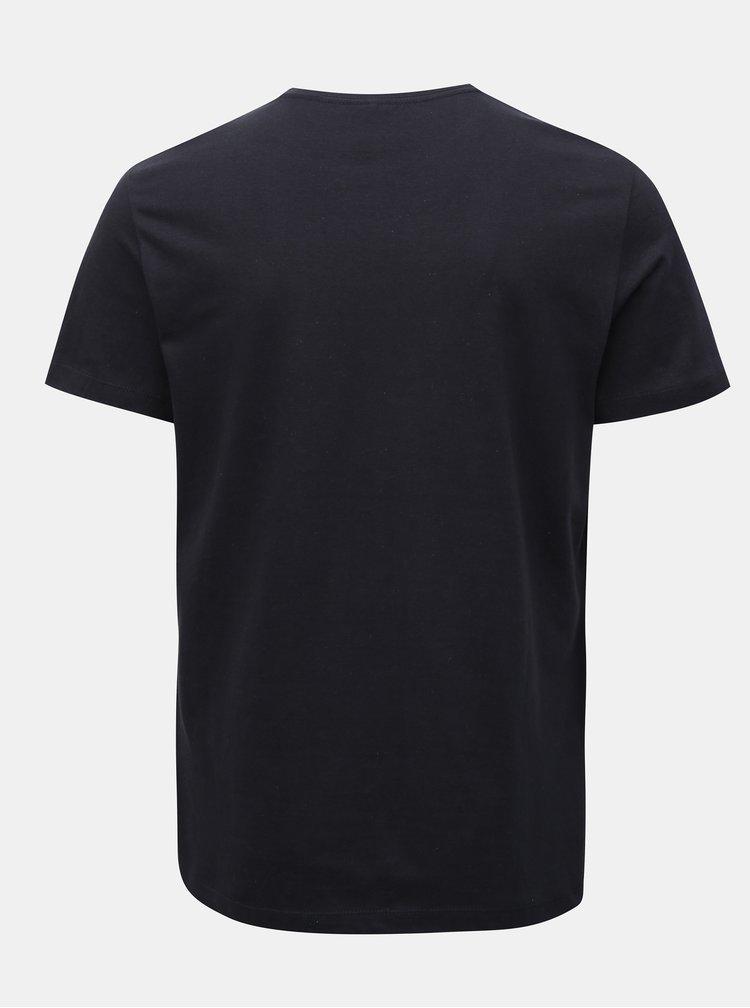 Tmavě modré regular tričko potiskem Blend