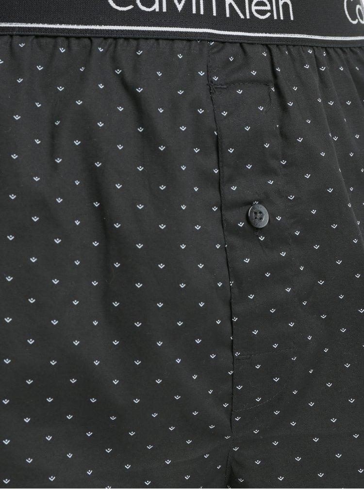Čierne slim fit trenírky s jemným vzorom Calvin Klein Underwear