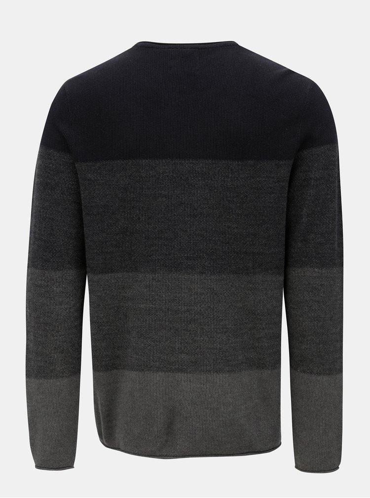 Modro-sivý pruhovaný sveter Blend