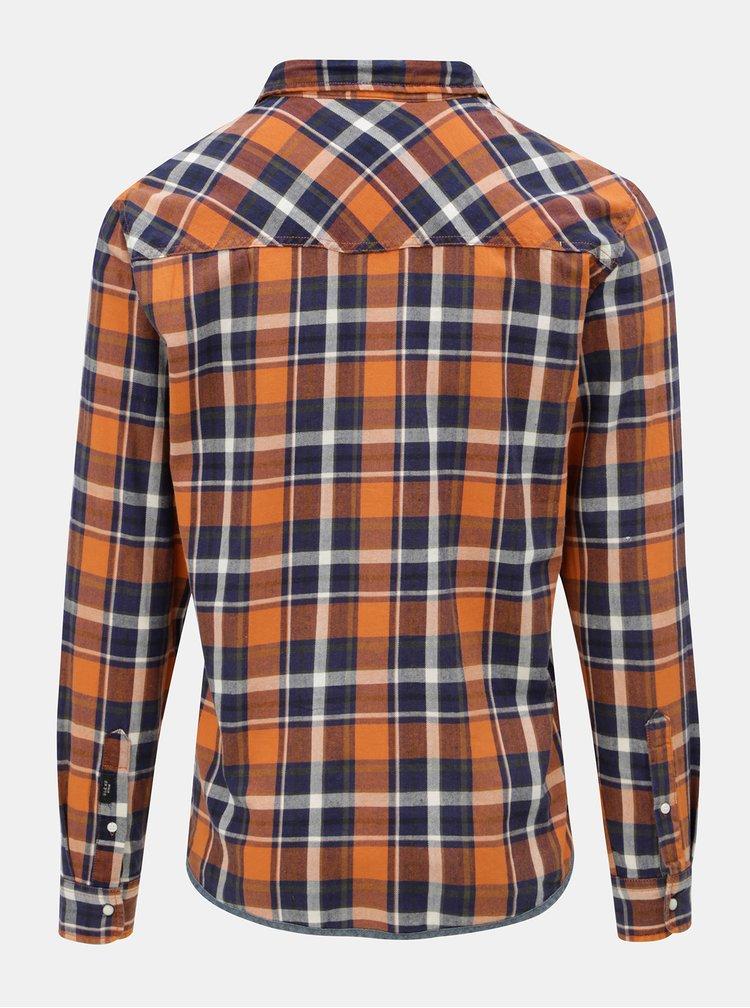 Modro–oranžová regular košeľa Blend