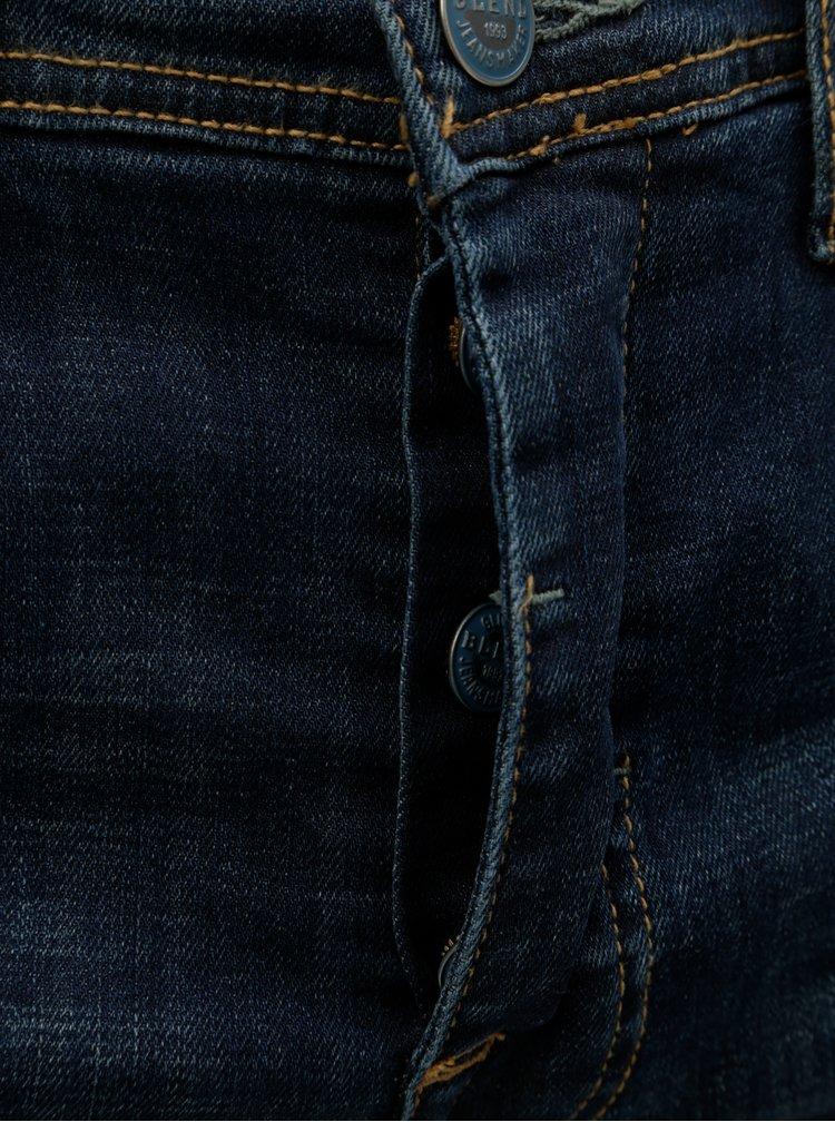 Blugi albastri slim fit din denim cu aspect uzat Blend