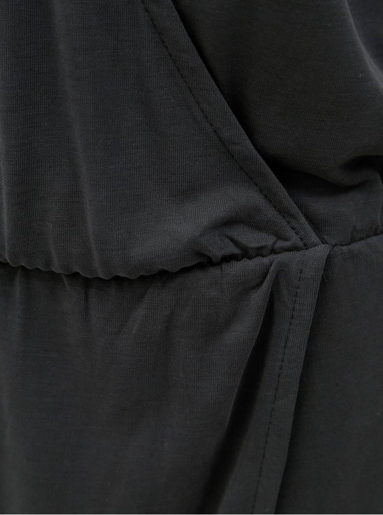 Tmavě šedé midišaty s překládaným výstřihem Moss Copenhagen Allu
