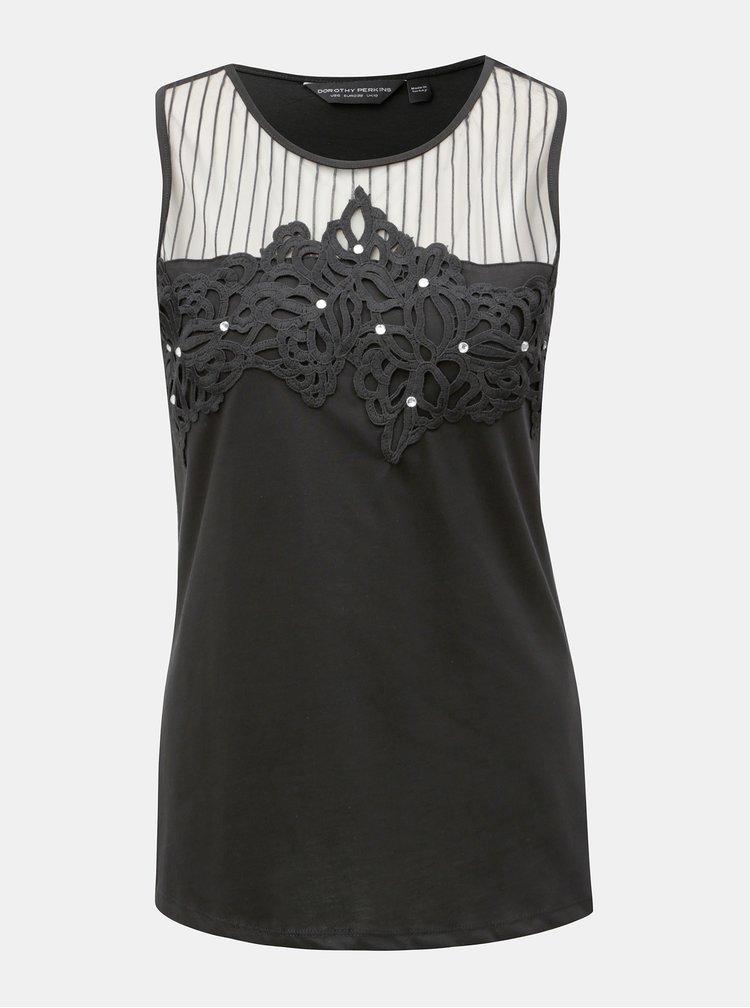 Černý top s krajkovými detaily Dorothy Perkins