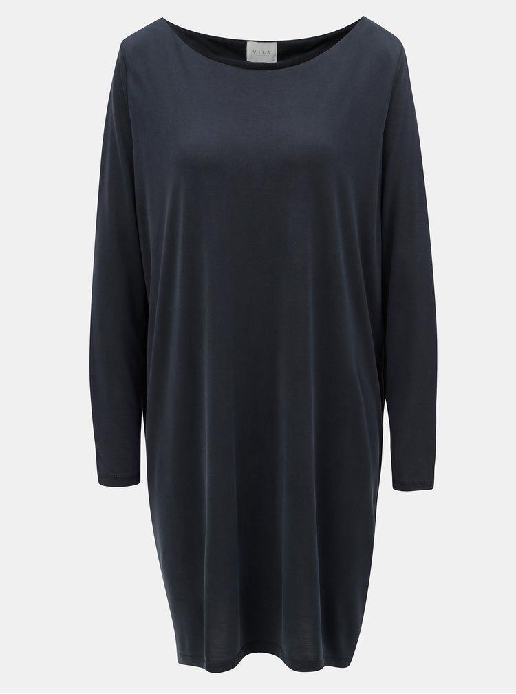 Tmavě šedé volné šaty s dlouhým rukávem VILA Vitriny