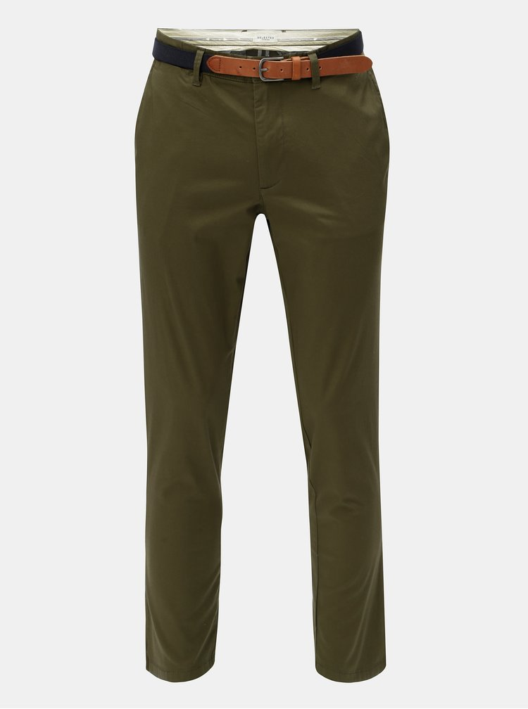 Pantaloni chino kaki slim fit cu cordon Selected Homme