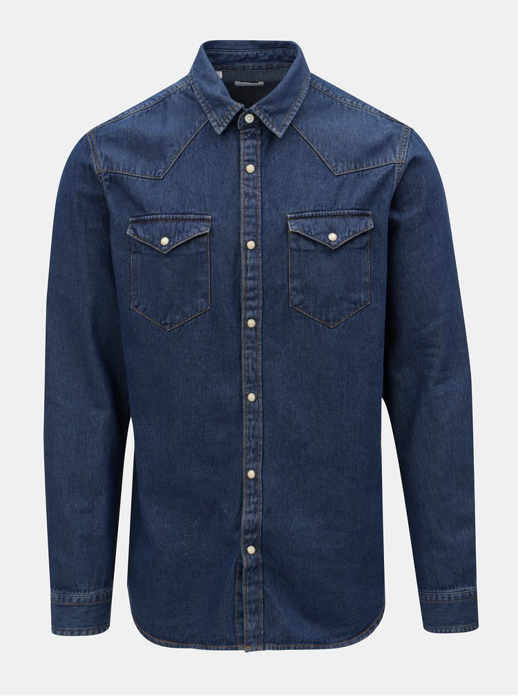 Camasa albastru inchis slim fit din denim Selected Homme
