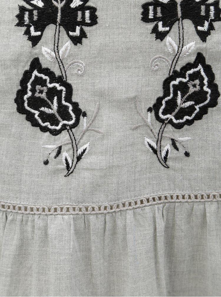 Šedé šaty s výšivkou a krajkovými detaily Dorothy Perkins