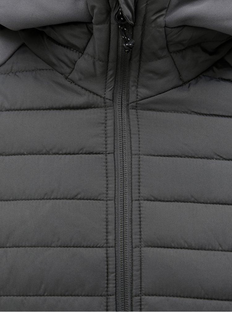 Šedá prošívaná bunda s kapucí Jack & Jones