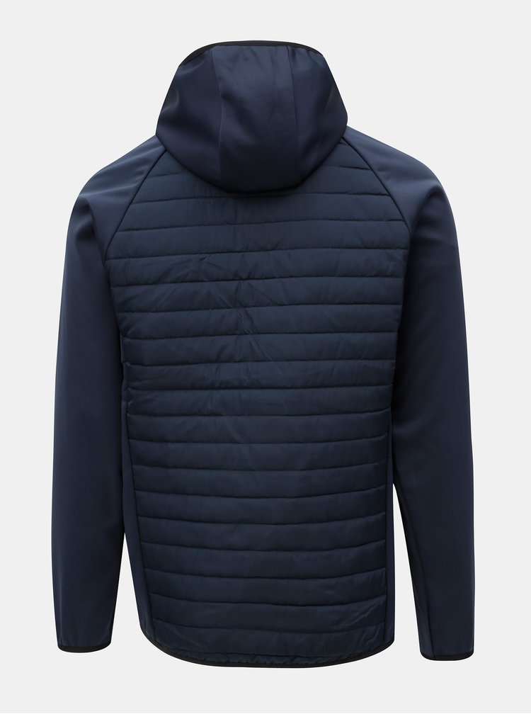 Tmavě modrá prošívaná bunda s kapucí Jack & Jones