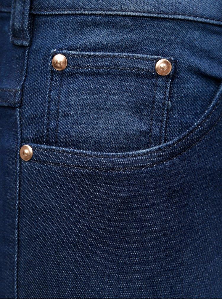 Blugi albastru inchis slim din denim cu talie inalta Zizzi