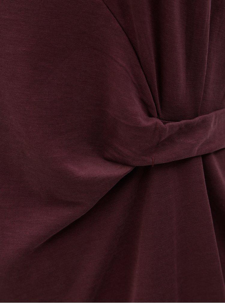Vínové šaty s krátkým rukávem a nabíráním v pase Zizzi