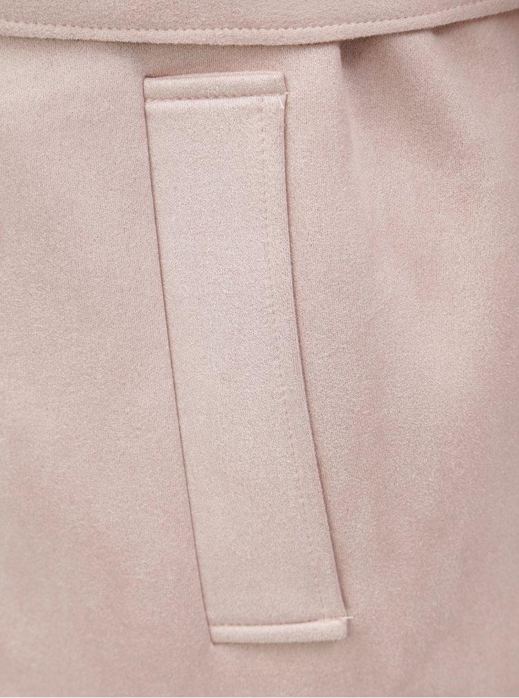 Světle růžový lehký kabát v semišové úpravě Zizzi
