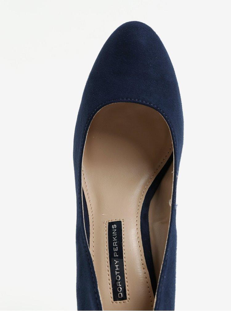 Tmavě modré lodičky v semišové úpravě na vysokém podpatku Dorothy Perkins