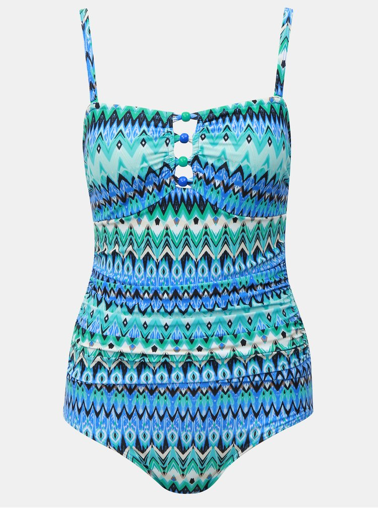 Modré vzorované jednodílné zeštíhlující plavky s korálky ve výstřihu M&Co