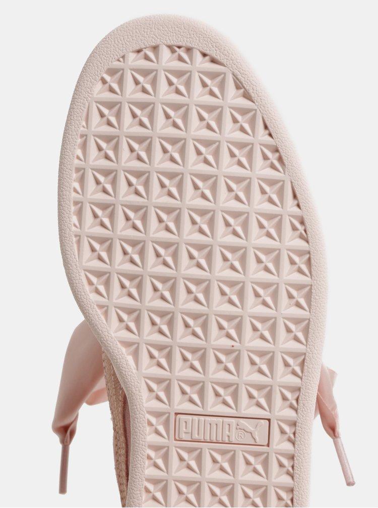 Světle růžové dámské semišové tenisky se stuhou Puma Heart Pebble