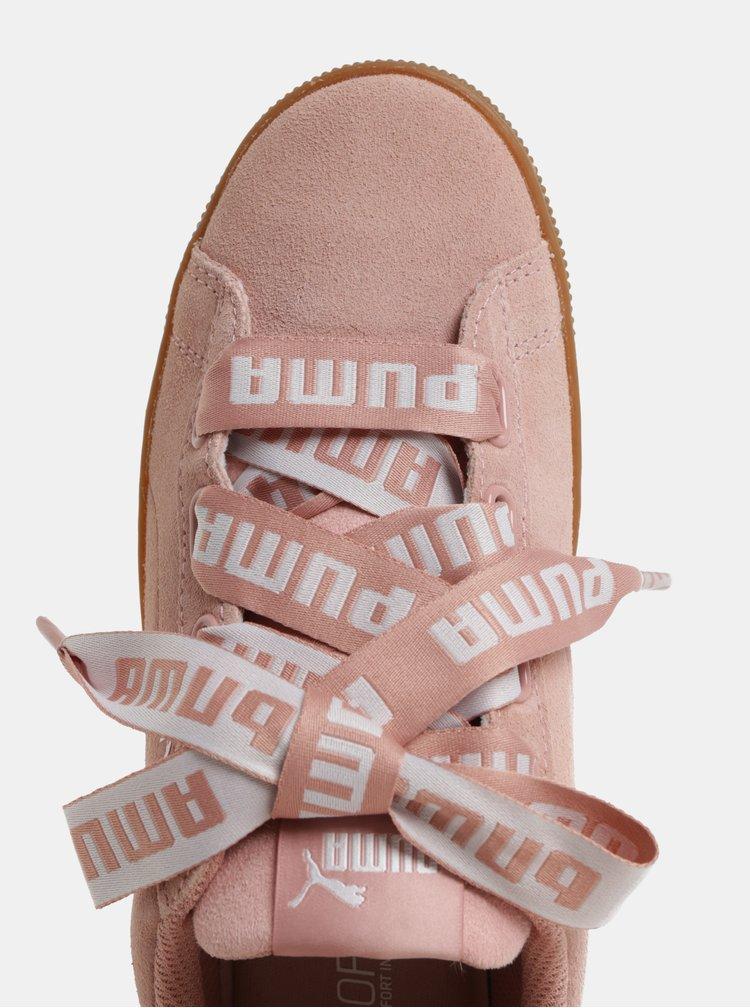 Světle růžové dámské semišové tenisky na platformě Puma Vikky