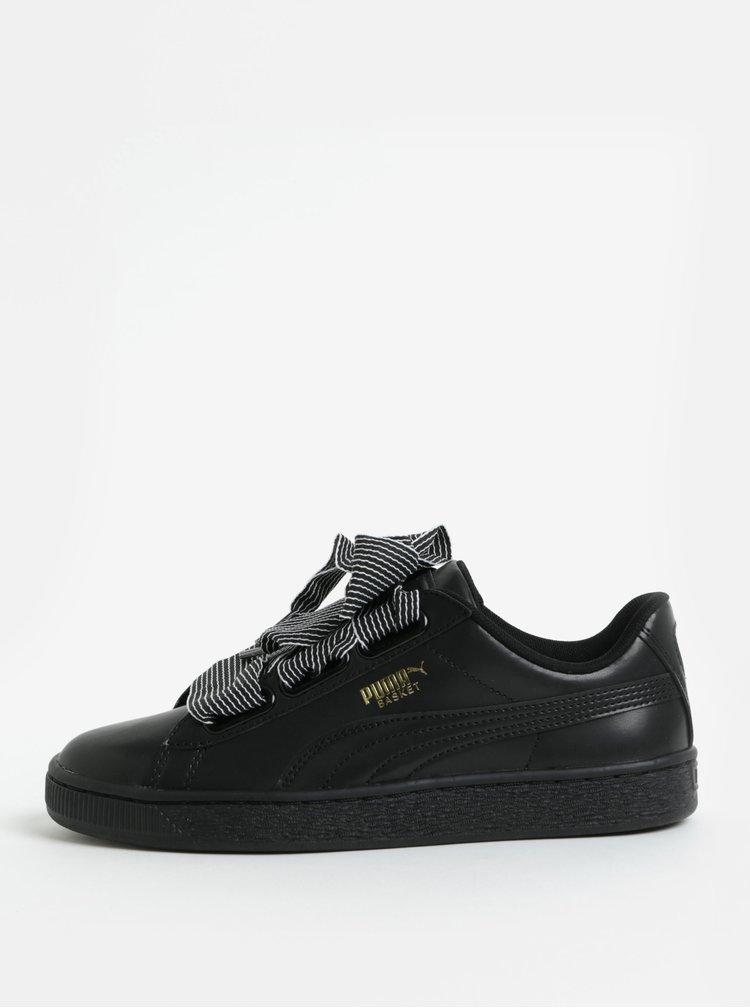 Pantofi sport de dama negri cu panglica lata Puma Basket Heart