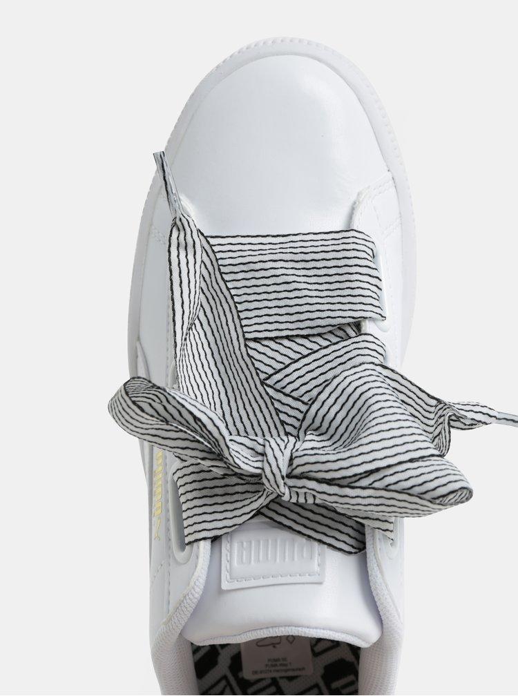 Bílé dámské tenisky se širokou stuhou Puma Basket Heart
