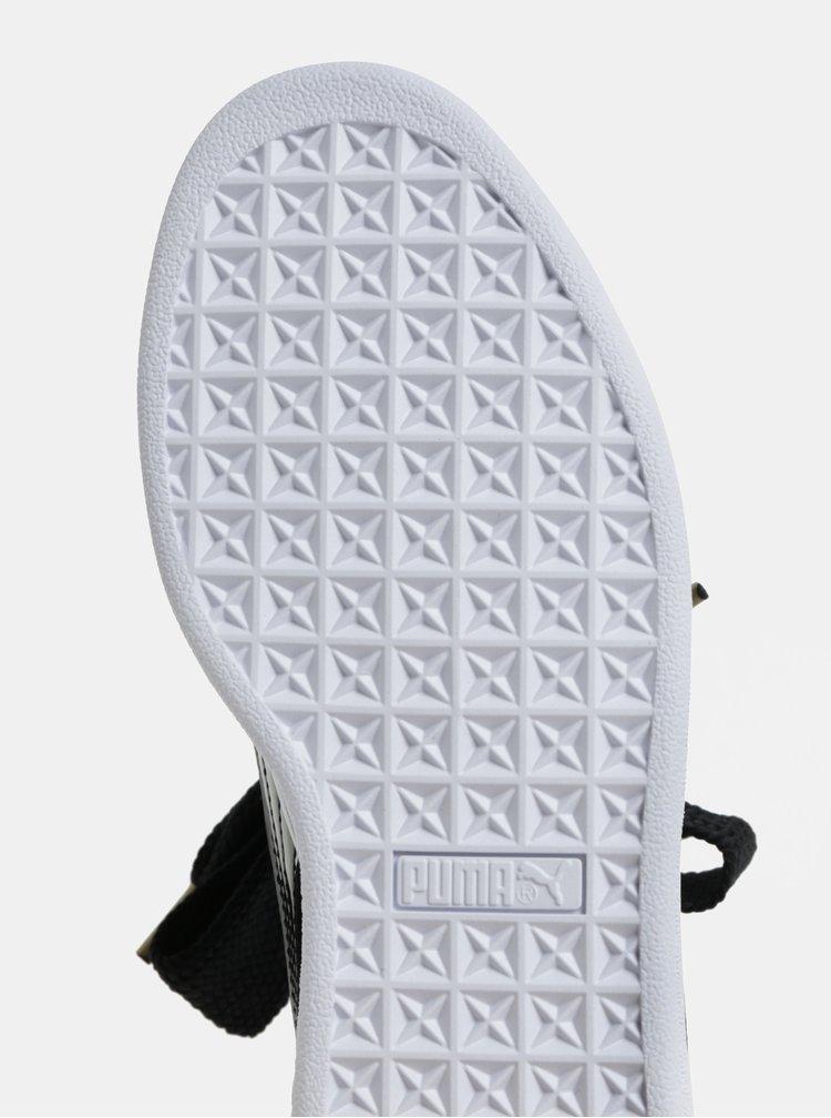 Černé dámské lesklé tenisky se širokými tkaničkami Puma Basket Heart