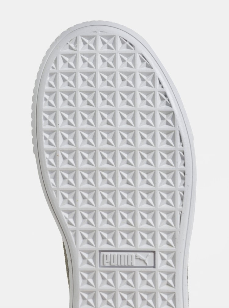 Šedé dámské semišové tenisky na platformě Puma Pebble