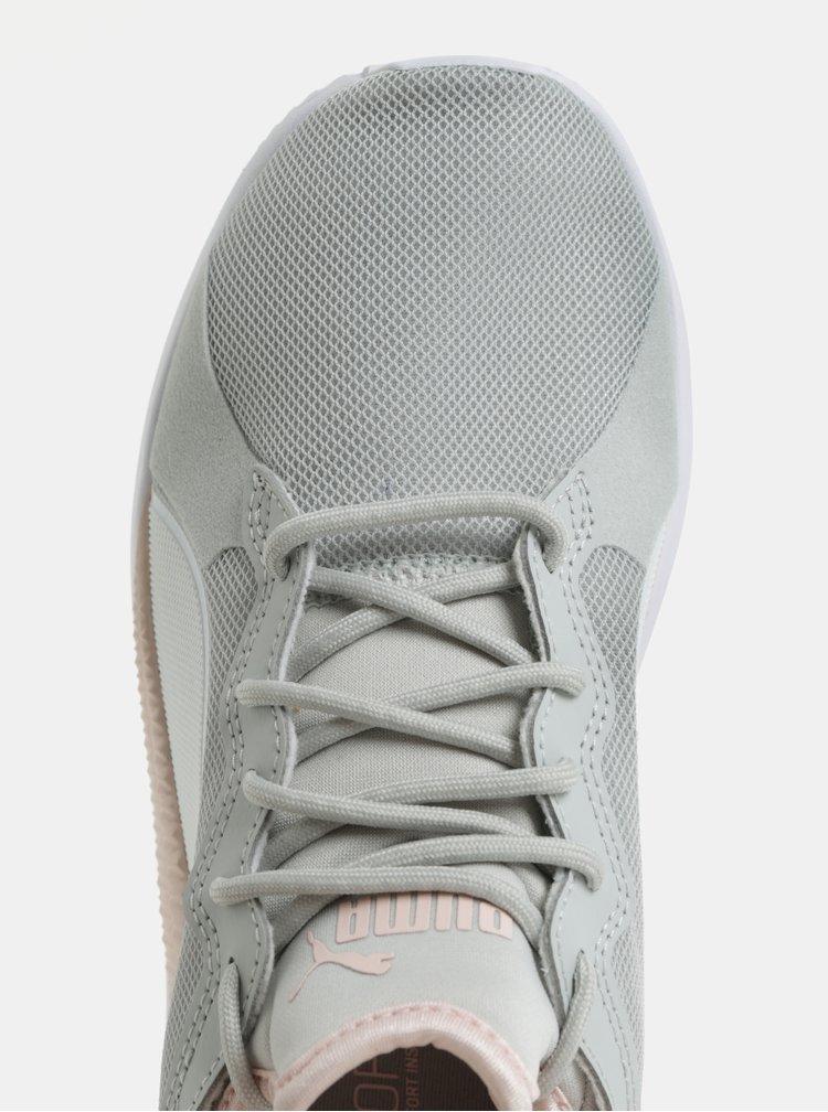 Růžovo-šedé dámské tenisky s detaily v semišové úpravě Puma Pacer Next