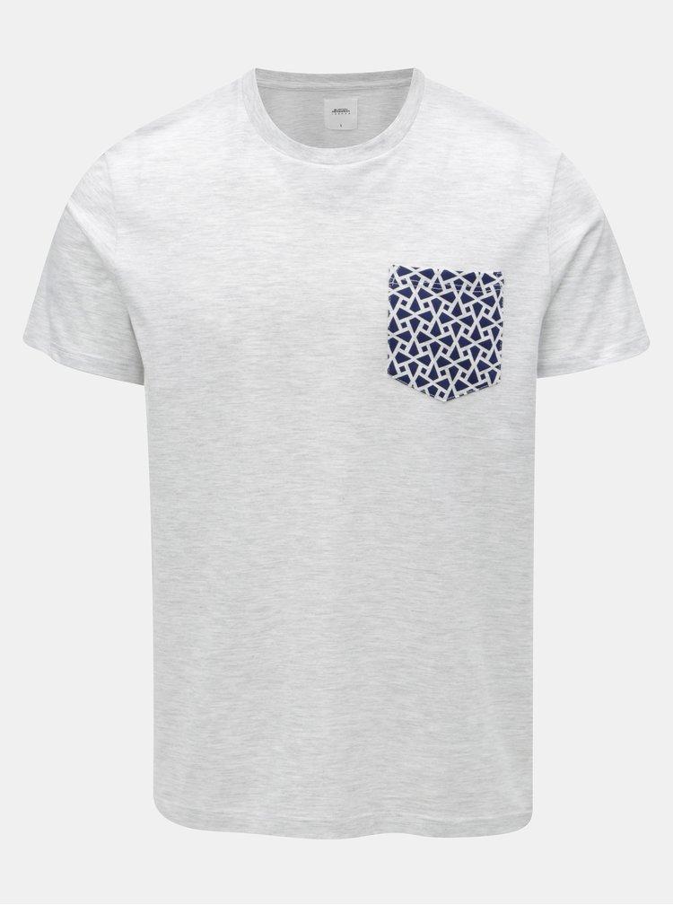 Světle šedé žíhané tričko se vzorovanou kapsou Burton Menswear London