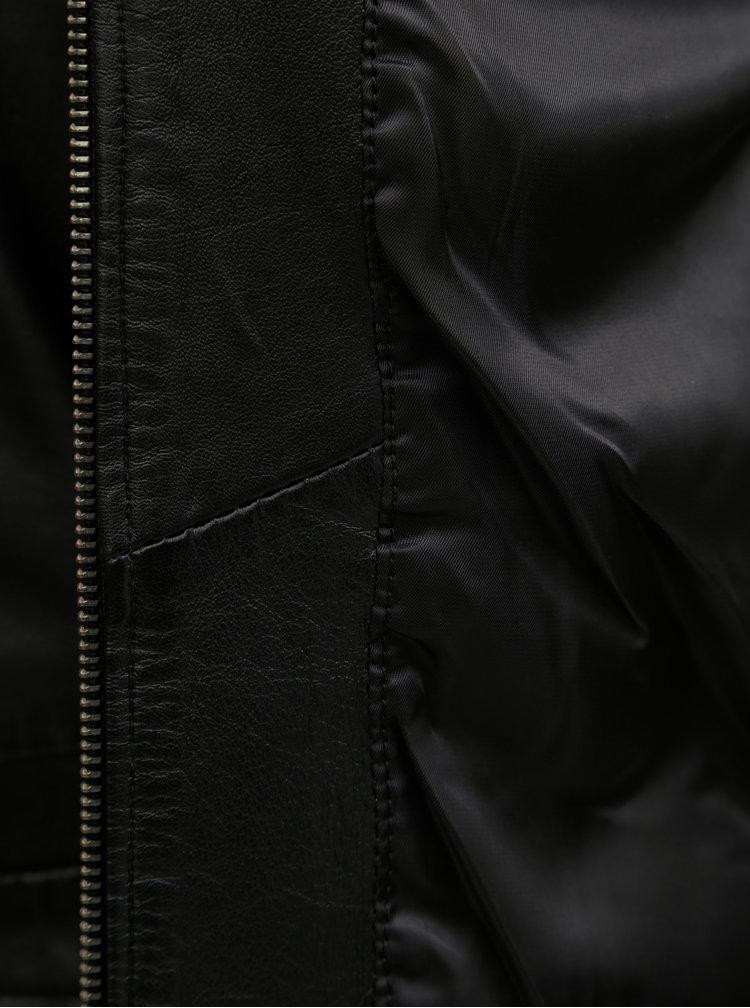 Černá kožená bunda VILA Makana