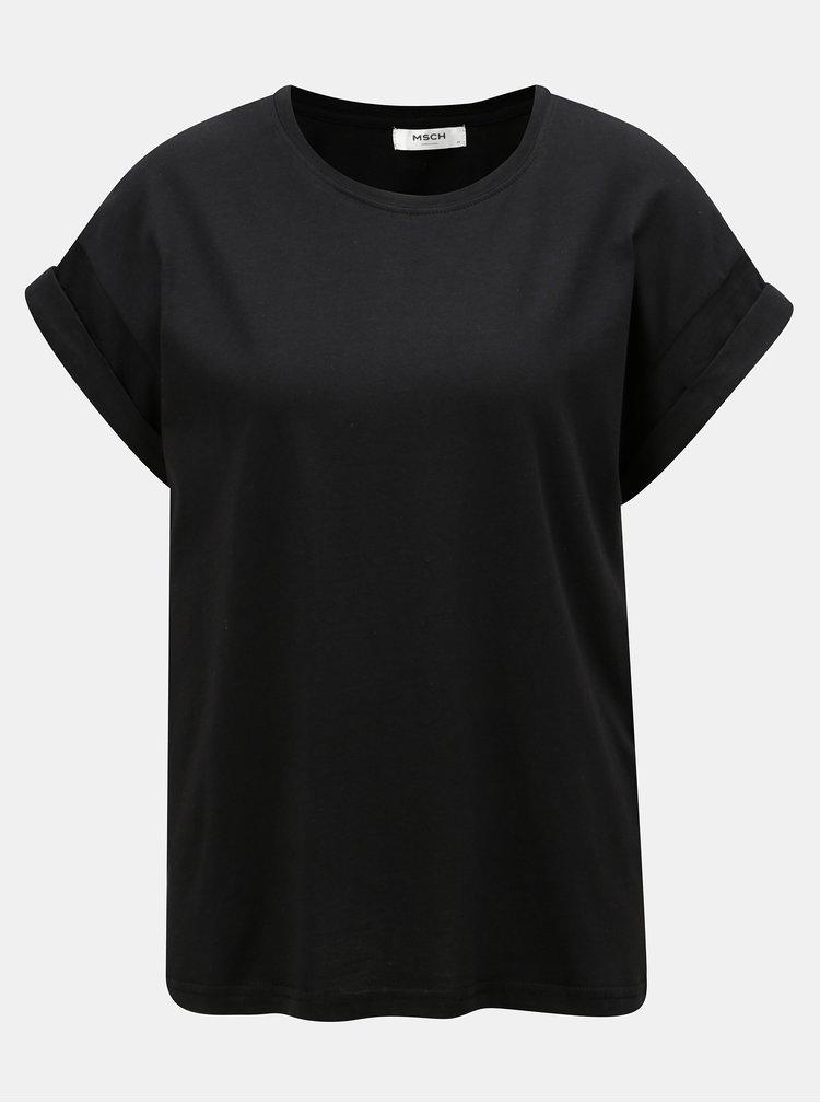 Černé oversize basic tričko Moss Copenhagen