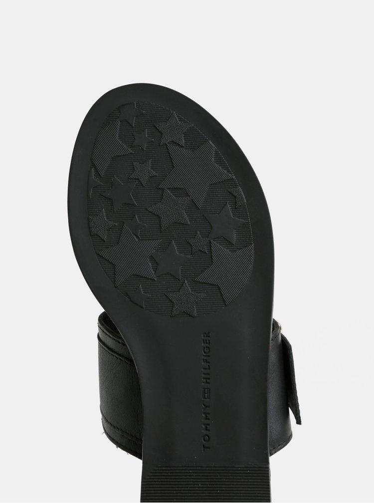 Černé dámské kožené žabky s přezkou Tommy Hilfiger