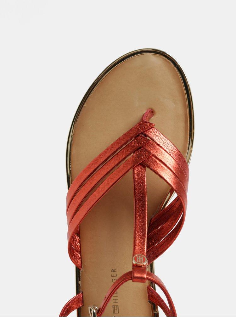 Červené dámské kožené sandály Tommy Hilfiger