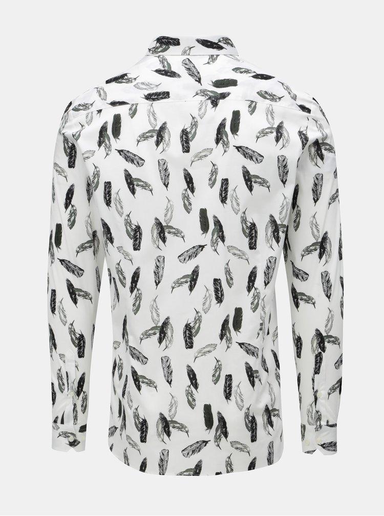 Biela vzorovaná skinny košeľa Burton Menswear London