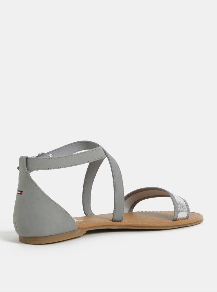 Šedé dámské kožené sandály Tommy Hilfiger