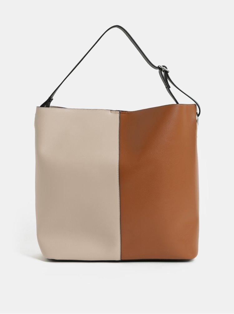 Geanta shopper bej-maro cu portofel detasabil Pieces Fareen